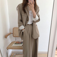 Work Pant Suits OL 2 Piece Sets Single Breasted Long Oversiz