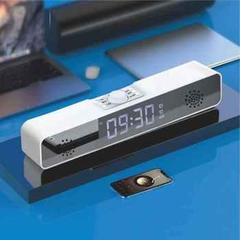 Głośnik bezprzewodowy Bluetooth tf głośnik domowy bluetooth 3D cyfrowy zegar z budzikiem led zegar dekoracja z temperaturą radio FM tanie i dobre opinie CN (pochodzenie) Z tworzywa sztucznego LUMINOVA 0016 Ruch falowy z podświetleniem 63mm DIGITAL 6 cal Możliwość personalizacji