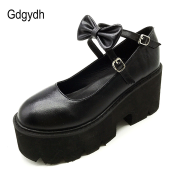 Gdgydh Japanese Sweet Gothic Lolita Shoes Women School College Princess For Girls Plaeform Heels Waterproof Bows Knot New - discount item  50% OFF Women's Shoes