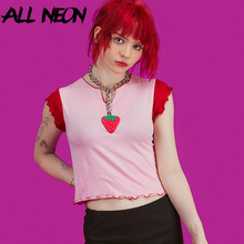ALLNeon Vintage V-Neck Ruffle Hem T-shirts Patchwork Strawberry Print Front Butterfly Sleeve Pink Crop Tops Sweet E-girl's Tees
