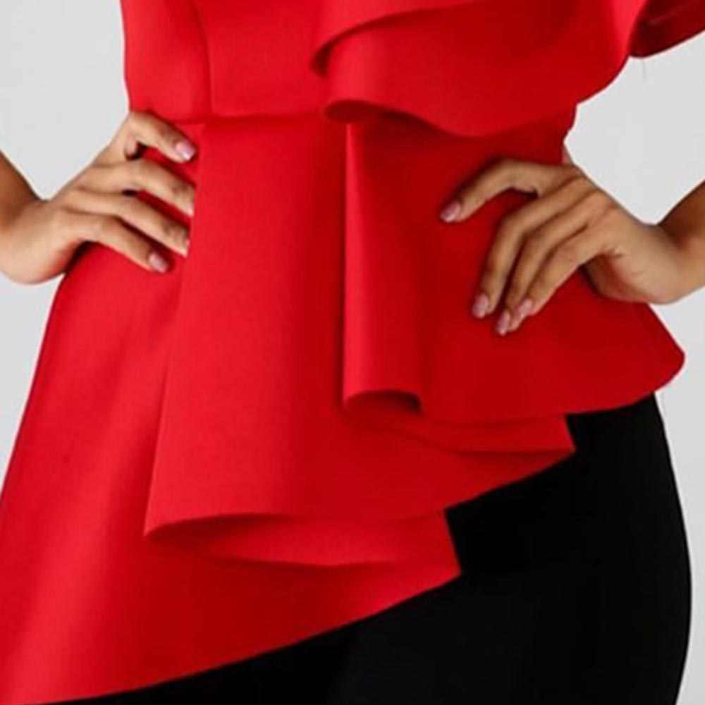 Plus Size Vrouwen Shirts 2XL Afrikaanse Fashion Solid Red Onregelmatige Ruches Mouwen Office Dames Zomer Causale Tops Vrouwelijke Blouse