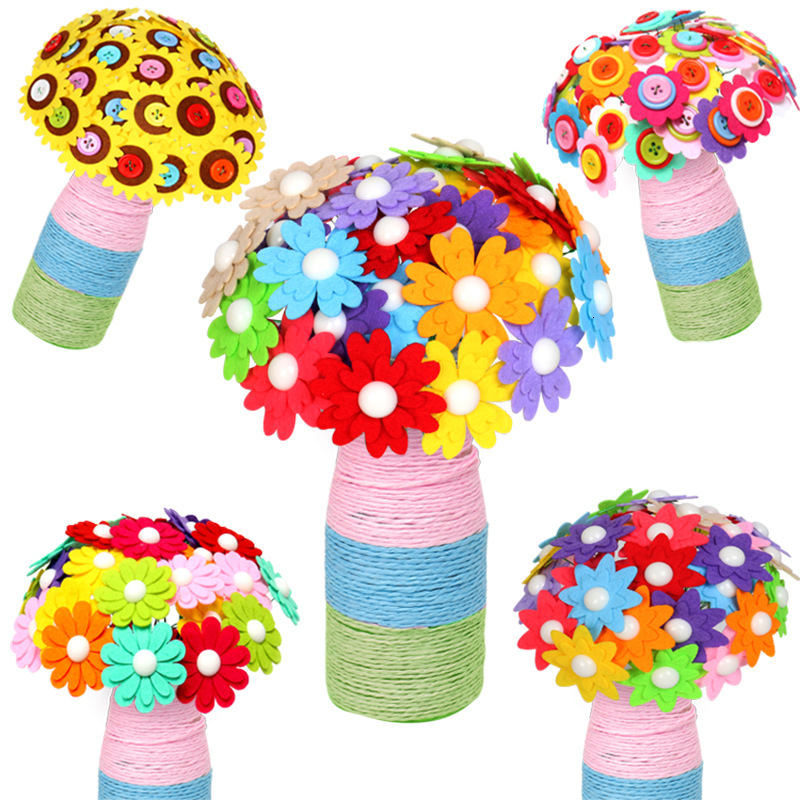 Button DIY Design Bouquet Toys For Children Kids Handcraft Educational Buttons Threading Creative Handmade Flowers Bough-pot Toy