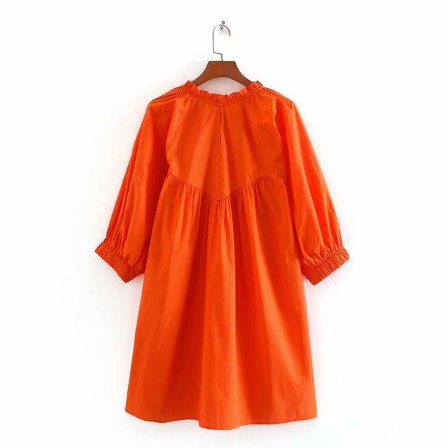 2020 Spring Summer New Hollow Embroided orange cotton zaraing women Dress sheining vadiming female vintage plus size Cdc9659 2