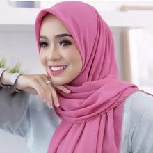 Hijabs écharpe lourde en mousseline de soie pour cils, foulard de tête pour femme châles, bandeau Long et uni, 180x75cm