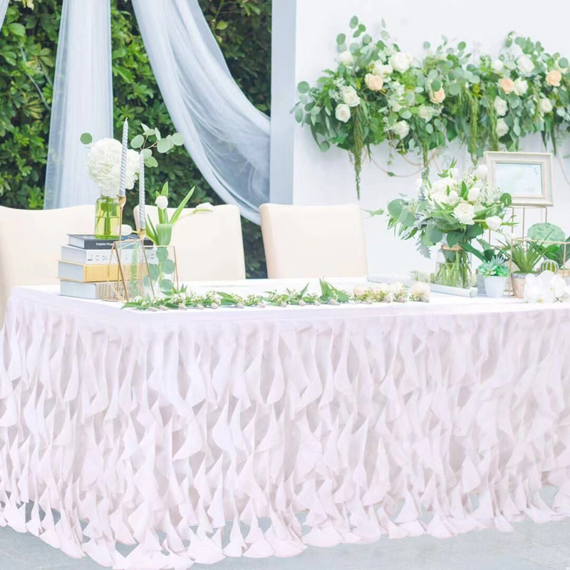 Handmade Pink Wavy Tulle Table Skirt For Wedding Dessert Britday Party Table Decor Table Signature Home Decoration 185*77cm
