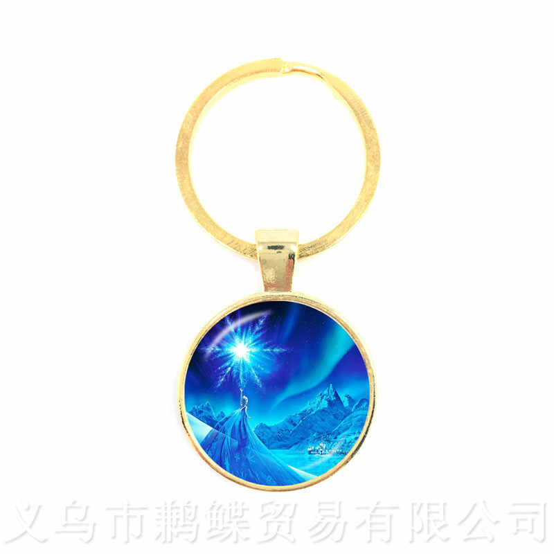 Princess Anna And Elsa Men Keychains Jewelry Glass Cabochon Princess Snow Queen Keyring For Men Women Kids