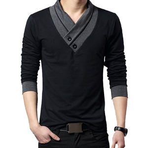 2020 Fashion Brand Trend Slim Fit Long Sleeve T Shirt Men Patchwork Collar Tee V-Neck Men T-Shirt Cotton T Shirts Plus Size 4XL(China)