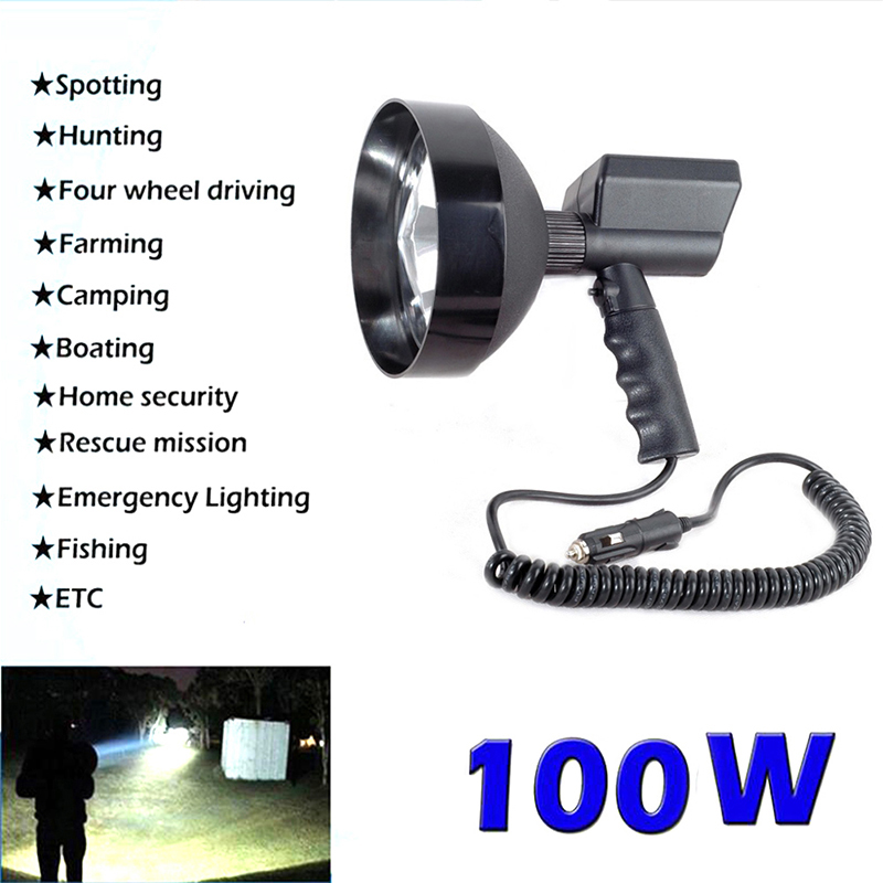 100 Вт 5 дюймов Портативный поиск светильник на открытом воздухе Ручной Охота светильник ксеноновая лампа рыбалка патрульная машина HID поиск светильник s Точечный светильник 12V