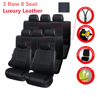 3 Row 8 seats Full Car Seat Covers Leatherette Luxury 3D Breathable Automotive interior for Minivan SUV