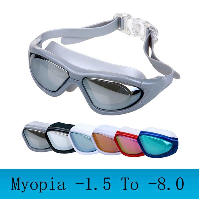 Myopia Swimming goggles large frame Professional swimming glasses anti fog arena diopter Swim Eyewear natacion water glasses(China)
