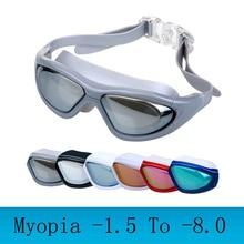 Myopia Swimming goggles large frame Professional swimming glasses anti fog arena diopter Swim Eyewear natacion water