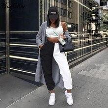 Hugcitar 2019 a vita alta patchwork sportiva harem pantaloni della tuta autunno inverno loose women casual sportivo streetwear pantaloni