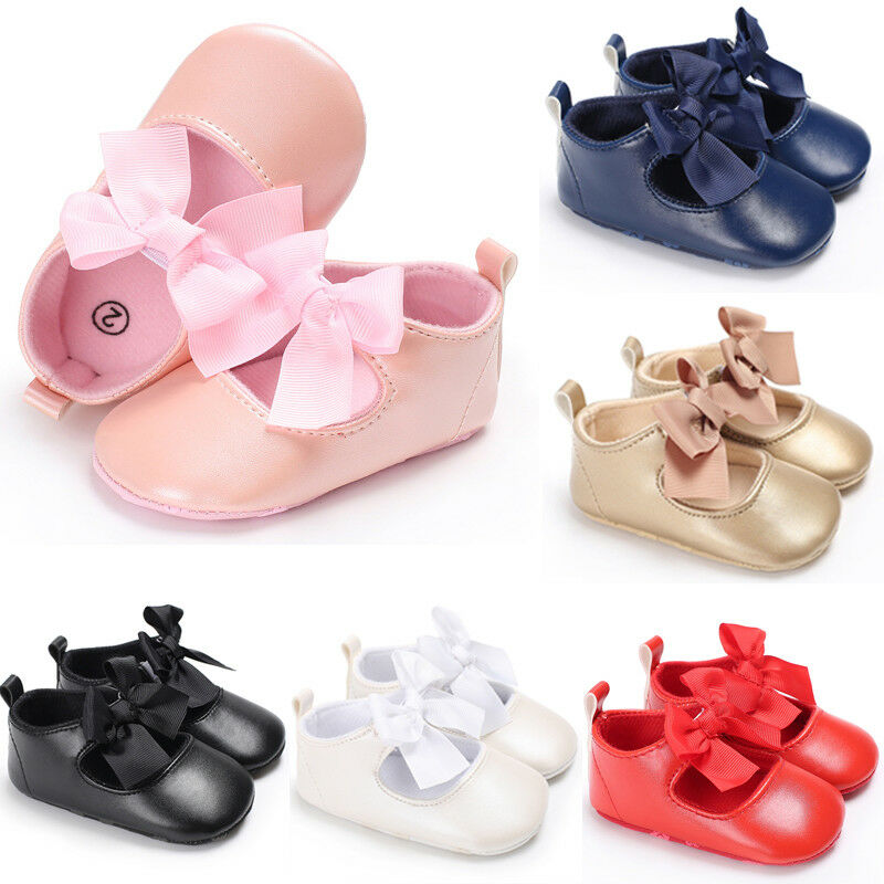 Newborn Toddler Baby Crib Shoes Princess Bow Children Kids Girl Dress Shoes Flats Wedding Party 0-24M