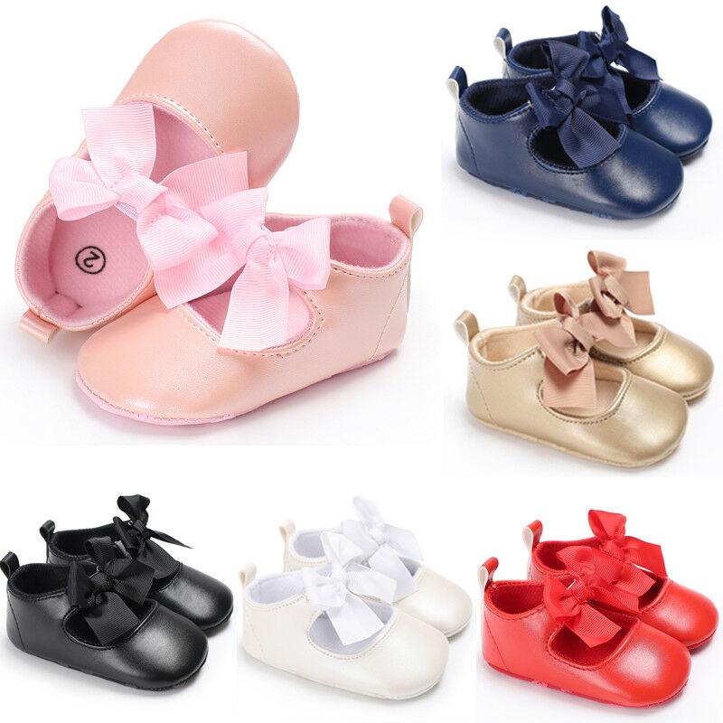 Newborn Toddler Baby Crib Shoes Princess Bow Children Kids Girl Dress Shoes Flats Wedding Party 0-24M