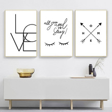 Nordic Abstract Eyes Black And White Posters Prints Love Letter Poster Wall Art Canvas Painting Print Pictures Frameless