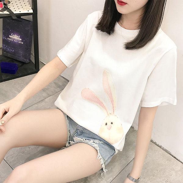 2020 letnia koszulka z krótkim rękawem damska luźna koszulka z okrągłym dekoltem koszulka studencka długa koszula