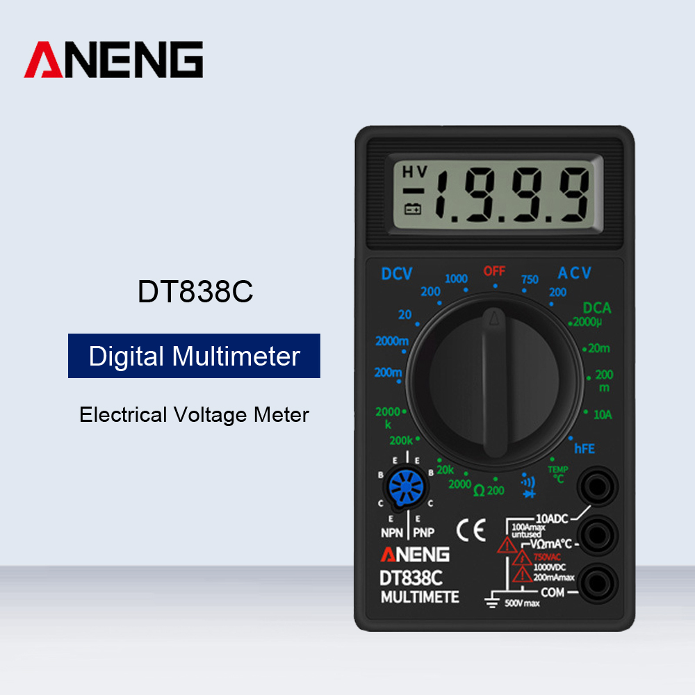 HTF DT838C Digital Multimeter Tester Voltmeter Buzzer Current Resistance Temperature Meter AC DC Ammeter Diode Test Lead Probe