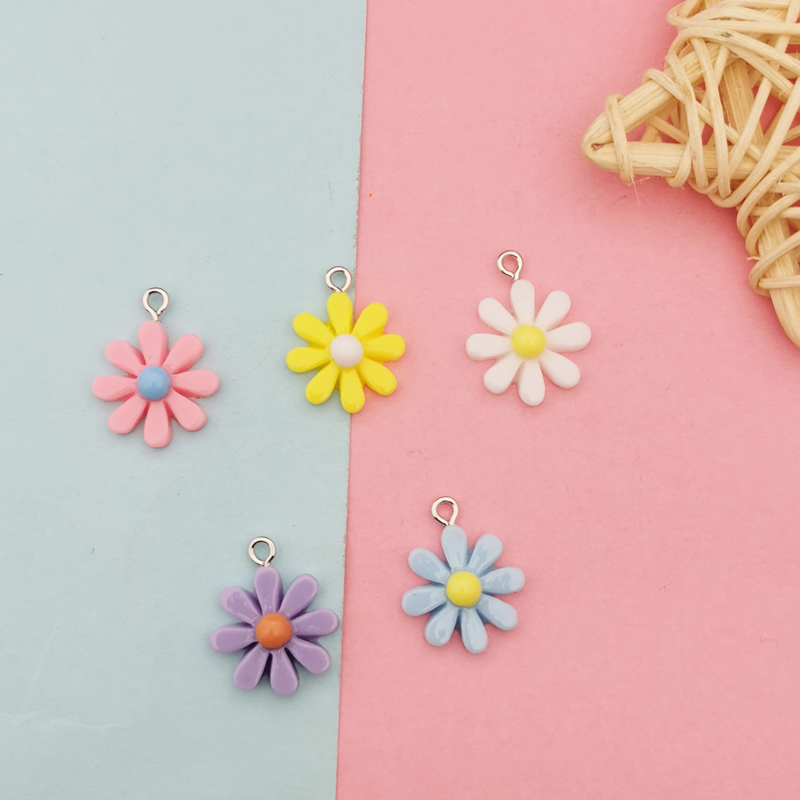 20Pcs Kawaii Resin Little Daisy Sun Flower Charms Pendants For DIY Decoration Earrings Key Chains Fashion Jewelry Accessories 1
