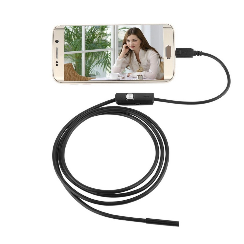 LESHP 6LED 7mm Lens 1.5m Endoscope Camera Cable Waterproof Mini USB Inspection Borescope Camera For Android Endoscope Phones PC