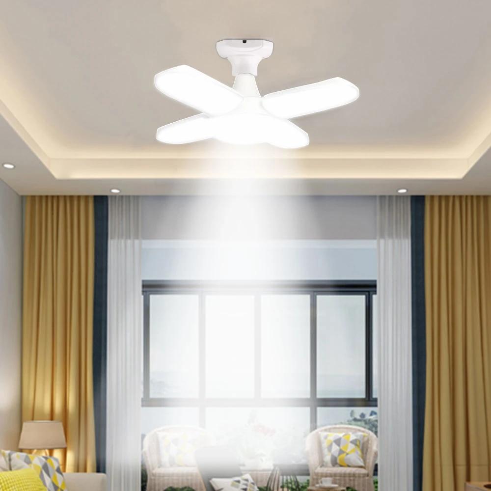 60w Foldable Led Garage Light Fan Blade Ceiling Lamp No Flicker E27 Led Bulb 85 265v 360 Degrees Angle Adjustable Pendant Lights Ceiling Lights Aliexpress