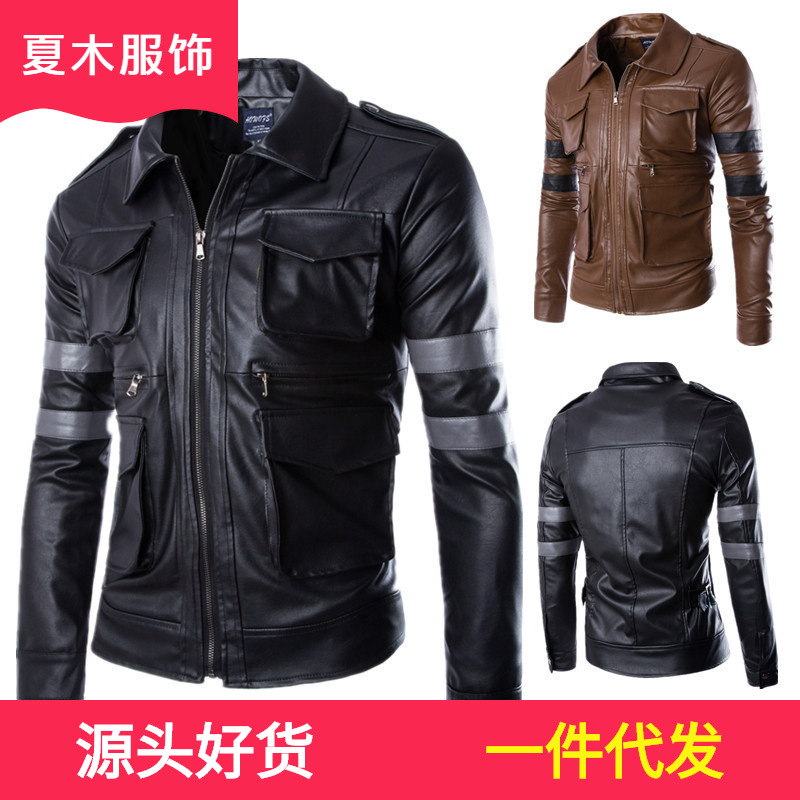 2016 New Style MEN'S Leather Coat Casual Men'S Wear Leather Jacket Men Multi-pockets Leather Coat Hot Selling Coat