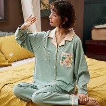 새로운 홈 착용 긴 소매 면화 녹색 가을 겨울 잠옷 캐주얼 수면 세트 2 pcs nightwear babydoll 잠옷 잠옷 정장