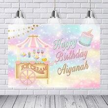 Fondo de vinilo personalizado para fotografía de carnaval, carrusel, tienda de helados, pastel de feliz cumpleaños, Cupcake, estudio fotográfico