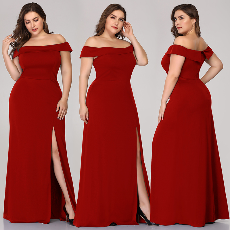 Evening Dress New Burgundy Elegant Mermaid Off-the-shoulder Gowns Floor Length With Split Evening Party Dresses