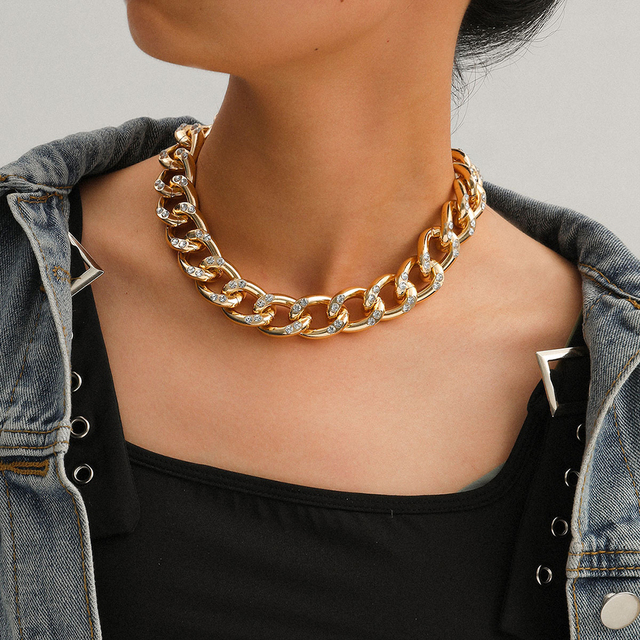 New Punk Choker Necklace for Women 2020 fashion Rhinestone Hip Hop Gold collares Thick Chain Jewelry Gifts#38 3