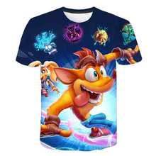 Crash Bandicoot baby boys T-Shirts 3D Anime Vintage Graphic Tops costume Boy clothes Short Sleeve O-Neck Shirts cartoon clothes