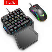 Havit One-Handed Blue switch Mechanical Gaming Keyboard Kits 7 RGB Backlit Mouse Portable Game Keyboard 36 Keys Rainbow Backling