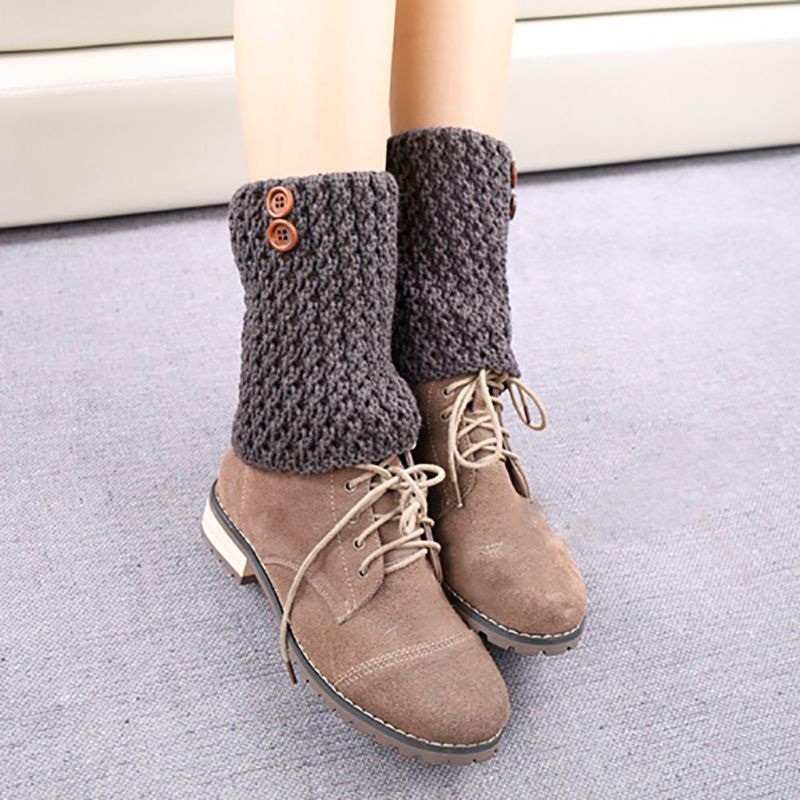 Women Leg Warmers Fashion Boot Cuffs Cover Leg Warmers Simple Knitted Short Winter Warm Leg Warmers Girls Knitted Boots Socks