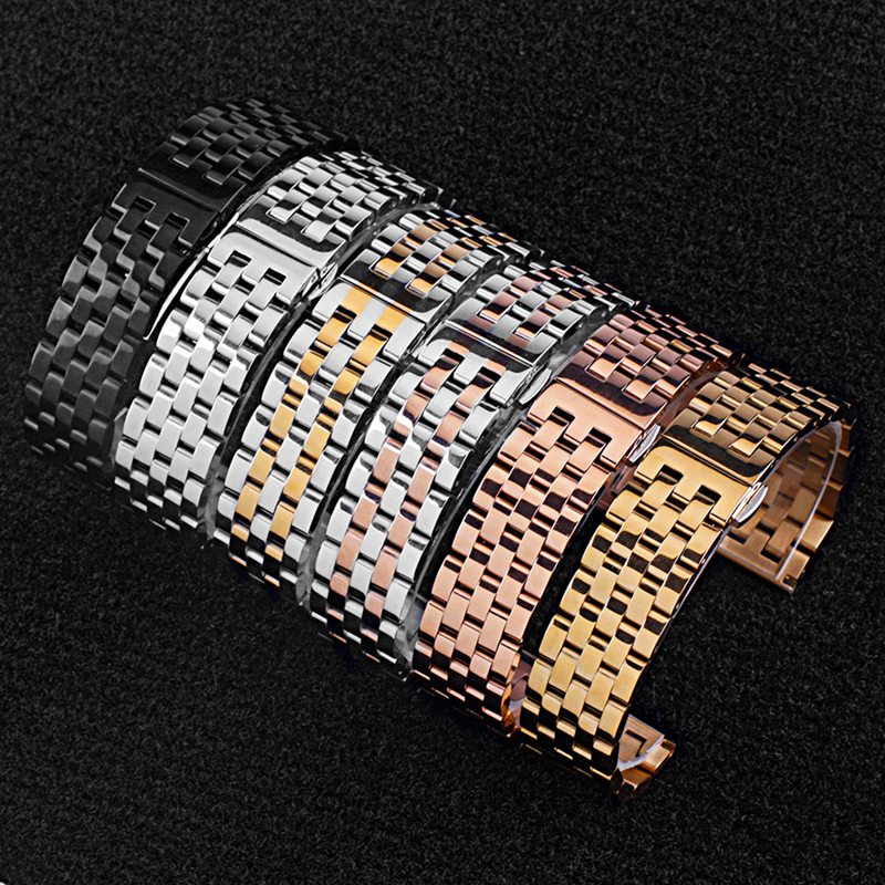 Watchband Full Solid Steel Belt Elbow Flat Head Dual-use Five-bead Push Button Hidden Clasp Strap Gold Straight Arc Interfaces | Watchbands