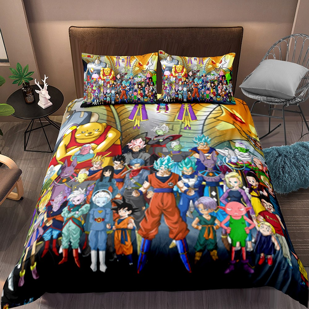Dragon Ball Bedding Set Goku Family And Friend Microfiber Duvet Cover Pillowcase Anime Character Bed Cover Boy Room Quilt Cover