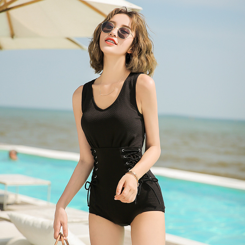 Simple Bathing Suit Women's Genuine Product New Style Dress-Conservative Belly Covering Slimming Large Size Push Up Genuine Prod