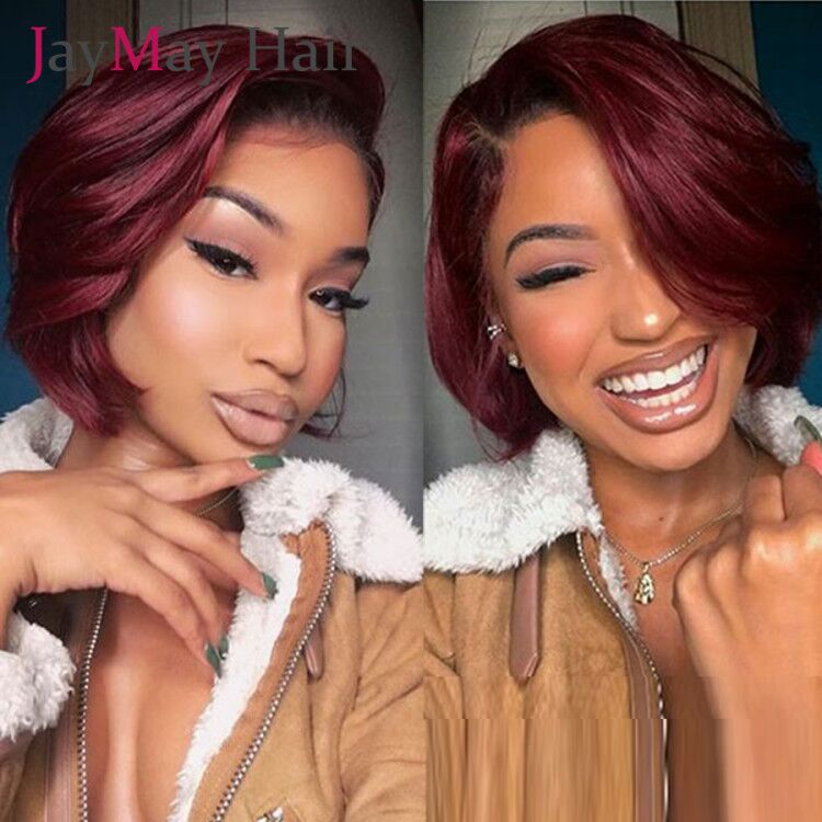 Blonde 613 Pixie Cut Wig BOB Lace Front Human Hair Wigs 99J Burgandy 13X6 Lace Frontal Wigs  150 Density Natural Curly Lace Wigs