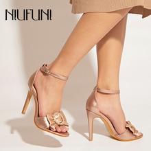 цена на NIUFUNI Peep Toe Rhinestone Wedding Women Shoes Bow Stiletto Woman Sandals Buckle High Heels Summer Footwear Sandalias mujer