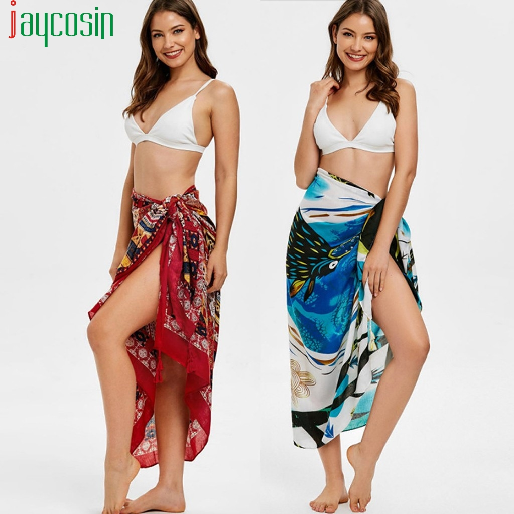 Women Beach Towel Skirt Tulle High Waist Tied Bandwidth Loose Hawaiian Print Female Skirt Casual Ladies Plus Size Party Skirt