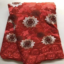 2021 African Fabrics Soft Embroidere Red Color Lace For Party Dress Satin 100% Cotton Materials