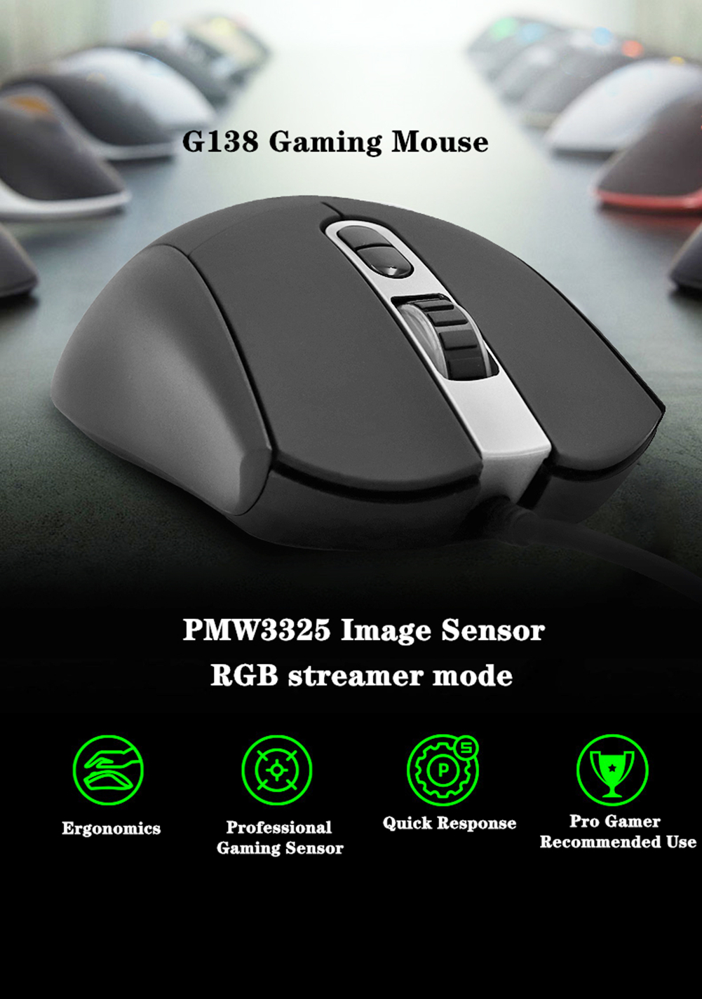 Wired G138 Gaming mouse gamer 5000 DPI for FPS MOBA E-sport Gaming Mice Symmetrical PMW3325 Optical Sensor for PC ProCSGO PUBG