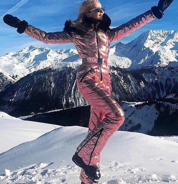 Combinaison de Ski à capuche avec col en fourrure 36
