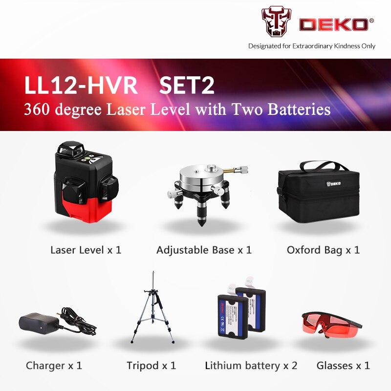 DEKO LL12-HV, 12 линий, 3D лазерный уровень, самонивелирующийся, 360 градусов, горизонтальный и вертикальный крест, мощный, открытый, можно использовать детектор - Цвет: Red Laser Set 2