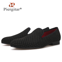 Piergitar new arrival polka dots design men handmade shoes men casual loafers plus size male's flats classic men smoking slipper