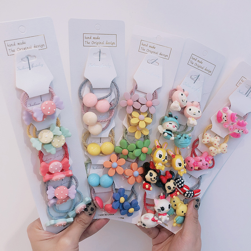 10  / Set Kids Hair Accessories Kakakids Girls' Hair Circle Band Lovely Flowers Cartoon Animals Fruits Elastic Hair Band