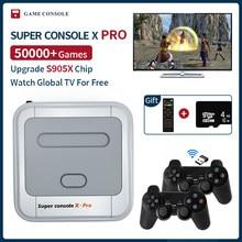 Super console x pro mini/tv consolas de jogos de vídeo wifi saída hd para jogos psp/n64/dc/ps1 para xbox gamepad embutido 50000 + jogos