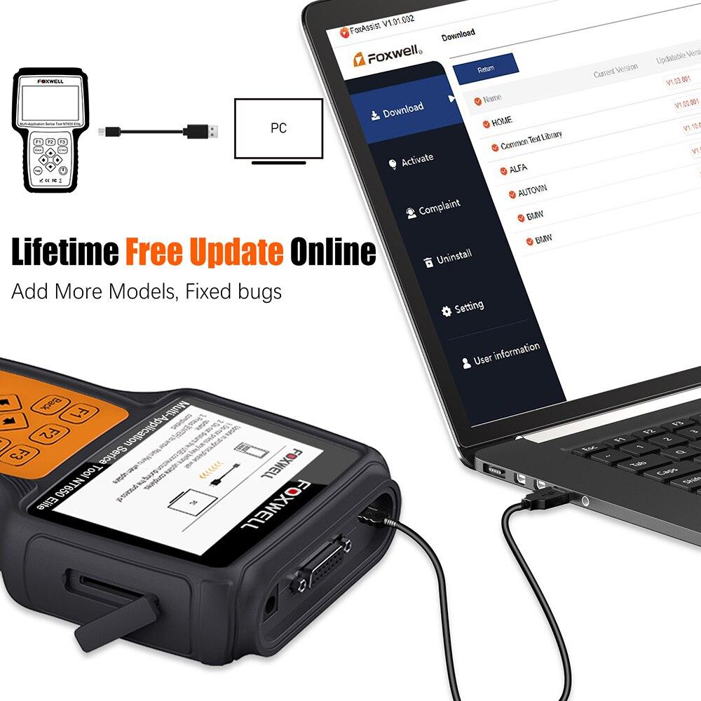 FOXWELL NT650 Elite OBD2 Automotive Scanner ABS SRS SAS DPF Oil Reset Code Reader 3