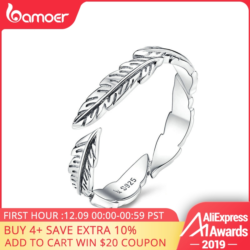 BAMOER 100% Pure 925 Sterling Silver Boho Style Feather Free Size Adjustable Finger Rings For Women Vintage Fine Jewelry SCR517