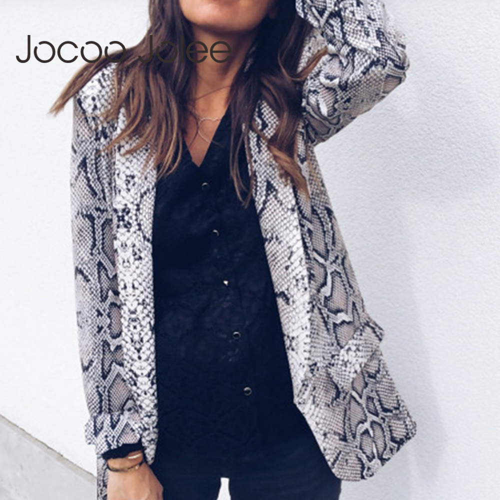 Women 2019 Autumn Vintage Leopard Blazers Work Office Lady Slim Skin Print Suits With Pockets Casual Blazers And Jackets Tops