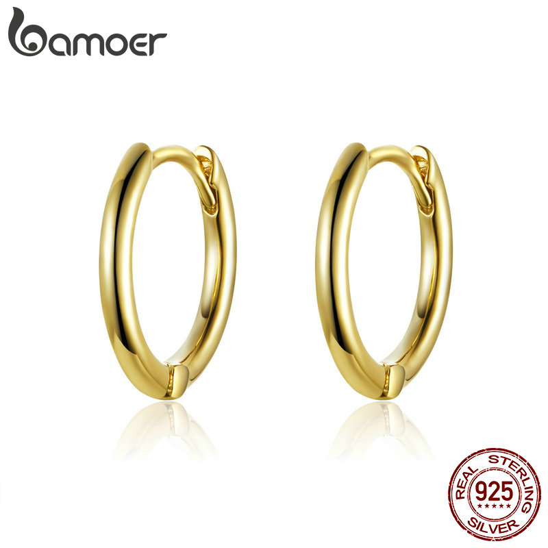 BAMOER Classic New 925 Sterling Silver Simple Round Circle Hoop Earrings For Women Fashion Jewelry SCE558