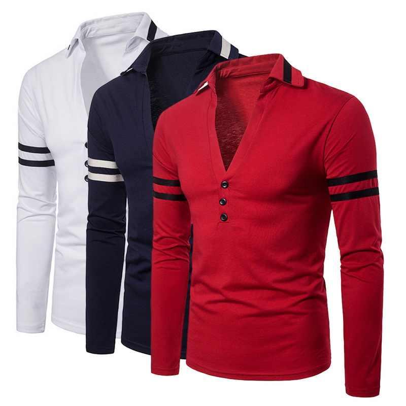 MJARTORIA hombres nueva moda Color sólido profundo en forma de V diseño camiseta 2019 manga larga de solapa para hombre